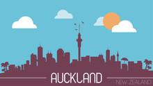 Auckland New Zealand Skyline Silhouette Flat Design Vector