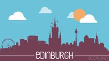 Edinburgh Scotland Skyline Silhouette Flat Design Vector