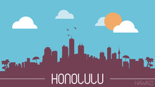 Honolulu Hawaii Skyline Silhou...