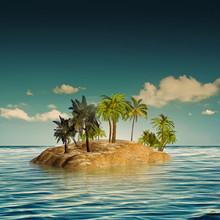 Beauty Island In The Sea, Abst...