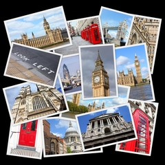Fototapeta London, UK - travel collage