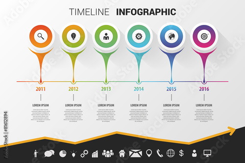 Photo  Timeline infographic modern design. Vector with icons