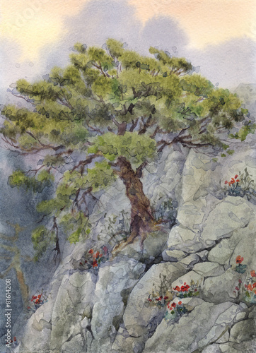 Fototapety, obrazy: Watercolor landscapes. The tree in the mountains