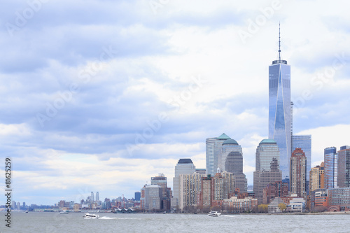 Skyline of lower Manhattan of New York плакат