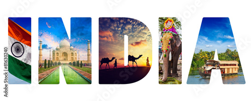 Spoed Foto op Canvas India India text with indian images