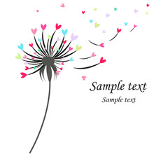 Dandelion Greeting Card With Colorful Hearts