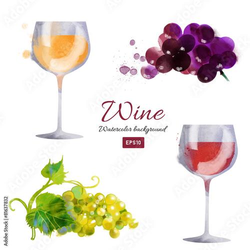 Watercolor vector wine background set Fototapete