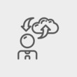 Man with cloud upload and download thin line icon
