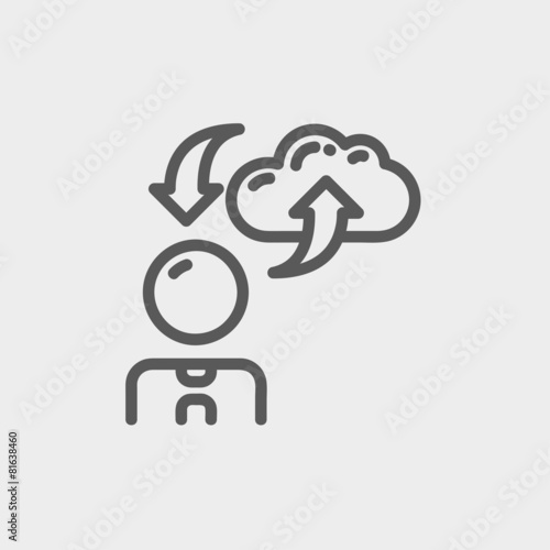 Fototapety, obrazy: Man with cloud upload and download thin line icon