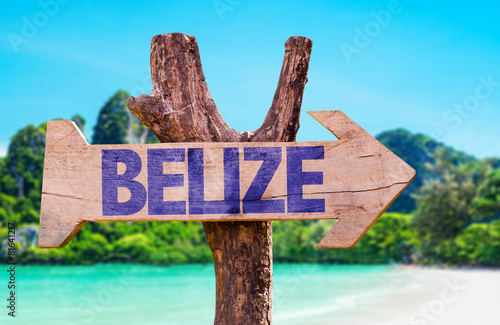Belize wooden sign with beach background Canvas Print