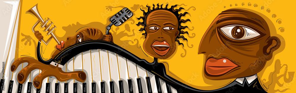 Abstract Jazz Band Sax Piano Vector Art Foto Poster