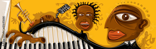 Photo  Abstract Jazz Band, Sax, Piano (Vector Art)