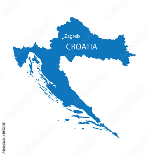 Obraz na plátně blue map of Croatia with indication of Zagreb