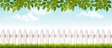 Long White Fence Banner With G...