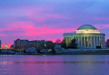 US Capitol And Thomas Jefferson Memorial  In US Capital.