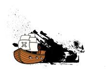 Pirate Sailing Boat Grunge Banner
