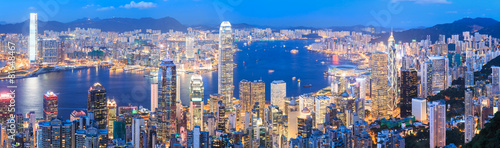 Hong Kong skyline at night Canvas Print