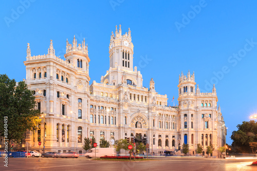 In de dag Madrid Plaza de Cibeles with the Palacio de Comunicaciones, Madrid