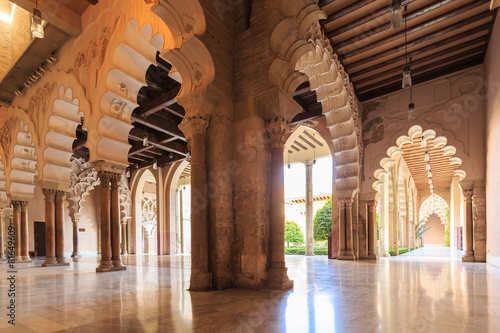 Arches and rooms of the Nord Porch within the Aljaferia Palace a