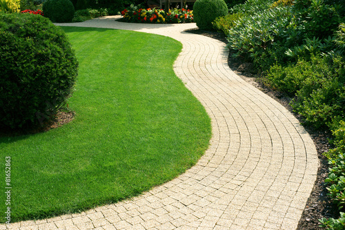 Fotobehang Tuin Beautiful lawn and path