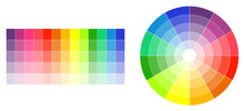 Color Wheel And Palette On Whi...