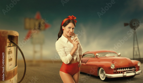 Photo  Retro pinup portrait of a pretty woman in a white shirt and.