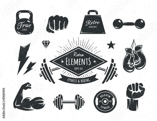 Obraz Retro Fitness Elements - fototapety do salonu