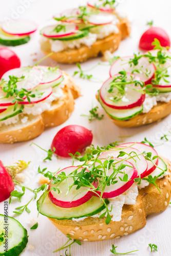 Plagát  bruschetta with feta cheese, radish and cucumber
