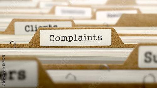 Complaints Concept with Word on Folder. Fototapet