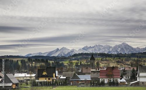 Village Szaflary and mountain near Zakopane. Poland
