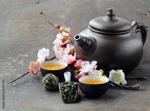 tea set (teapot, cups and different green tea) Canvas Print