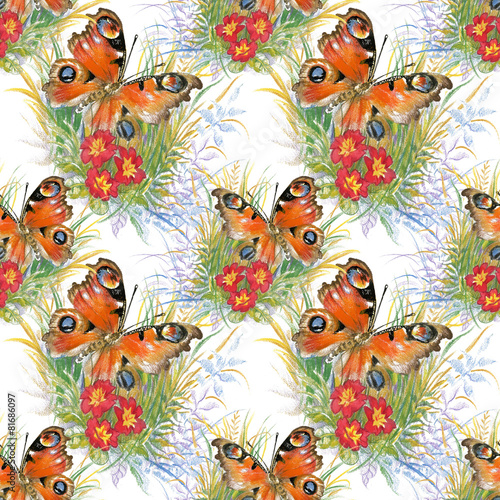Foto op Aluminium Vlinders in Grunge Butterflies picture seamless pattern with flowers