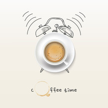 Coffee Cup Time Clock Concept ...