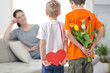 canvas print picture - Kinder mit Geschenken