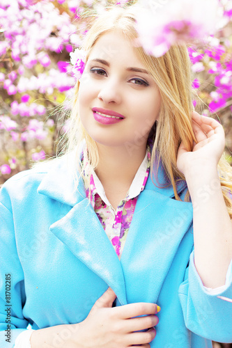 Fotografie, Obraz  Girl with blond hair purple
