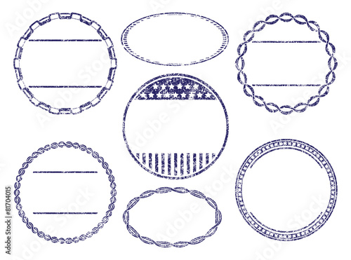 set of seven grunge rubber stamps templates buy this stock vector