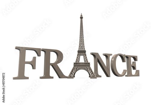 Foto op Aluminium Eiffeltoren Eiffel Tower with France Text