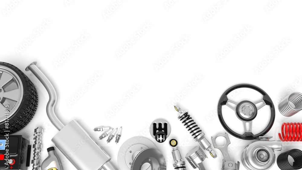 Fototapeta Various car parts and accessories, isolated on white background