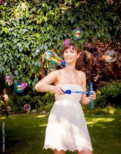 Fotografie, Obraz  happy playing bubble