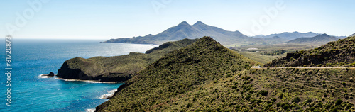 Panorama Küste Naturpark Cabo de Gata Andalusien Fototapet