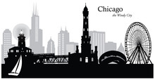 Vector Illustration Of The Chicago Skyline / Cityscape