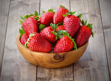 Strawberries In A Wooden Bowl