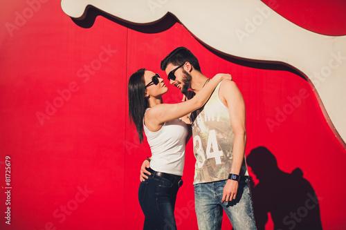 Foto op Aluminium Dance School couple in sunglasses