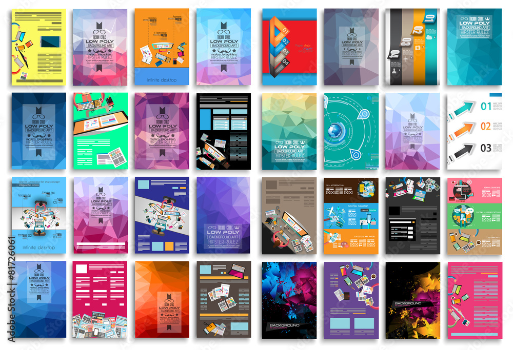 Fototapeta Set of Flyers, background, infographics, low polygon backgrounds