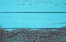 Fish Net Border On Blank Teal Blue Wood Sign