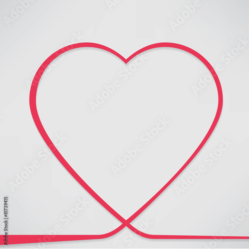 Photo  Valentines card with line heart