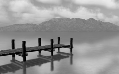 Fototapeta Molo 3D black and white landscape with jetty