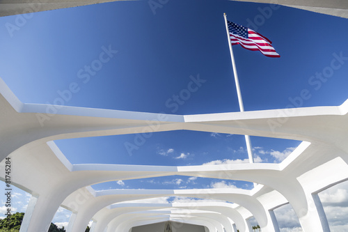 Photo  USS Arizona Structure and Flag