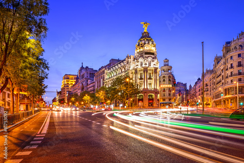 Spoed Fotobehang Madrid Madrid, Spain Cityscape on Gran Via