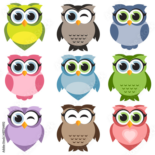 Poster Uilen cartoon Cute owls set